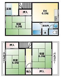 [一戸建] 大阪府八尾市黒谷2丁目 の賃貸【/】の間取り