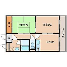 奈良県奈良市南京終町7丁目の賃貸マンションの間取り