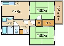 サンハイツ高井田[2階]の間取り