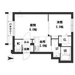 札幌市営東西線 西11丁目駅 徒歩8分の賃貸マンション 2階1LDKの間取り