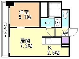 サンライトシティ豊平 7階1LDKの間取り