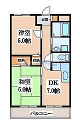 コスモレジデンス石切[2階]の間取り