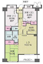 アミークス武蔵新城[507号室]の間取り