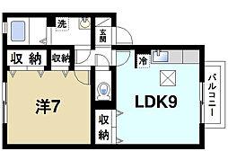 近鉄天理線 天理駅 徒歩14分の賃貸アパート 1階1LDKの間取り
