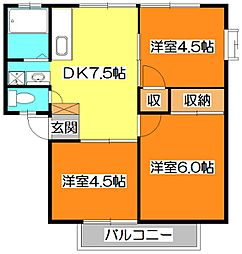 サンビレッジ三沢III[1階]の間取り