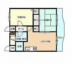 和歌山県和歌山市船所の賃貸マンションの間取り