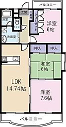 JR日豊本線 隼人駅 徒歩33分の賃貸マンション 1階3LDKの間取り