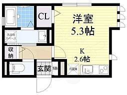 H&B吉田 2階ワンルームの間取り