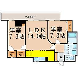 愛知県名古屋市東区泉2丁目の賃貸マンションの間取り