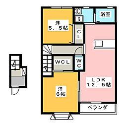 プラシードA[2階]の間取り