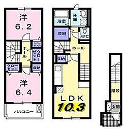 大阪府枚方市津田北町2丁目の賃貸アパートの間取り