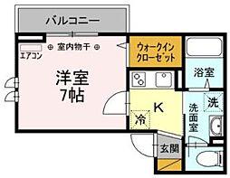 菅野6丁目新築 3階1Kの間取り