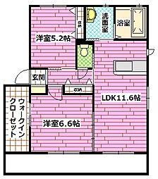 広島県安芸郡熊野町萩原5丁目の賃貸アパートの間取り