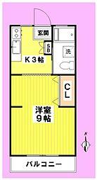 尾崎荘[206号室]の間取り