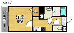 グランエクラ天下茶屋[6階]の間取り