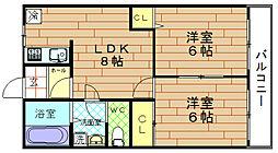 ロイヤルハイツ河田[8階]の間取り