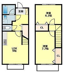 愛知県岡崎市八帖町字松葉の賃貸アパートの間取り
