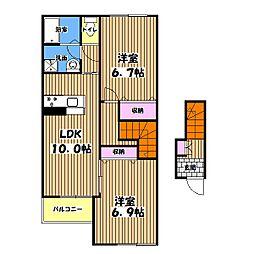 東京都武蔵村山市榎2丁目の賃貸アパートの間取り
