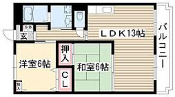 愛知県尾張旭市城前町3丁目の賃貸アパートの間取り