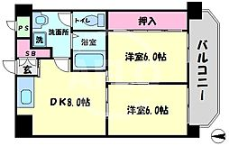 ICマンション 5階2DKの間取り