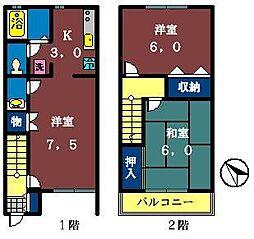 [テラスハウス] 千葉県船橋市駿河台1丁目 の賃貸【/】の間取り