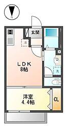 愛知県名古屋市中村区京田町2丁目の賃貸アパートの間取り