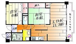 大阪府摂津市庄屋2丁目の賃貸マンションの間取り
