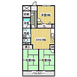 愛知県名古屋市中川区戸田ゆたか2丁目の賃貸マンションの間取り