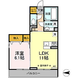 Canon桜 3階1LDKの間取り