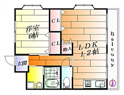 パレス愛信[3階]の間取り