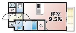 Osaka Metro千日前線 今里駅 徒歩6分の賃貸マンション 6階ワンルームの間取り