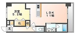 JR宇野線 備前西市駅 徒歩8分の賃貸マンション 3階1LDKの間取り