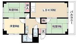 愛知県名古屋市南区元柴田東町2の賃貸マンションの間取り