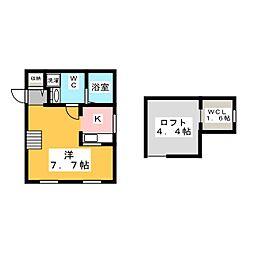 愛知県名古屋市千種区橋本町2丁目の賃貸アパートの間取り