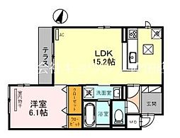(仮称)D-room岸辺駅北 1階1LDKの間取り