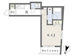 京王線 初台駅 徒歩8分の賃貸マンション 3階1Kの間取り
