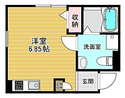 メゾン大和田 2階ワンルームの間取り