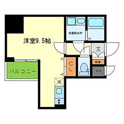 Y&Rino Residence 9階1Kの間取り