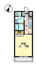 埼玉県東松山市大字高坂の賃貸アパートの間取り