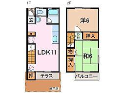 静岡県沼津市高尾台の賃貸アパートの間取り