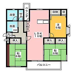 愛知県名古屋市千種区若水3丁目の賃貸マンションの間取り