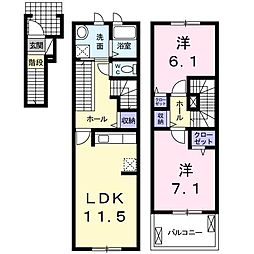 サンパティークA[2階]の間取り
