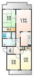 阪神浜甲子園マンション[2階]の間取り