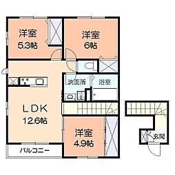 神奈川県平塚市片岡の賃貸アパートの間取り