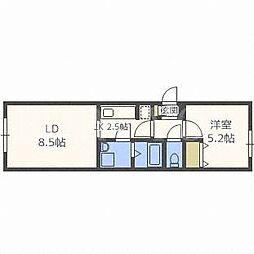北海道札幌市白石区南郷通10丁目南の賃貸マンションの間取り