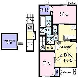 徳島県板野郡藍住町富吉字中新田の賃貸アパートの間取り