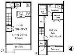 東急目黒線 武蔵小山駅 徒歩9分の賃貸アパート 1階1LDKの間取り