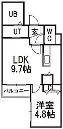 北海道札幌市豊平区平岸五条7の賃貸マンションの間取り