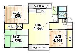 東京都町田市玉川学園5丁目の賃貸マンションの間取り