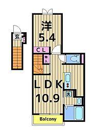 デスパシオ亀有 2階1LDKの間取り